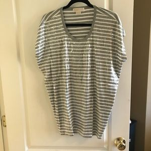 Striped/sequin T-shirt